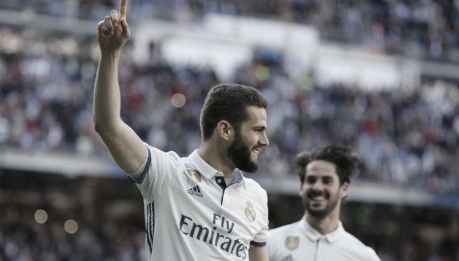 Nacho celebrando un gol con el Madrid. Fuente: EFE