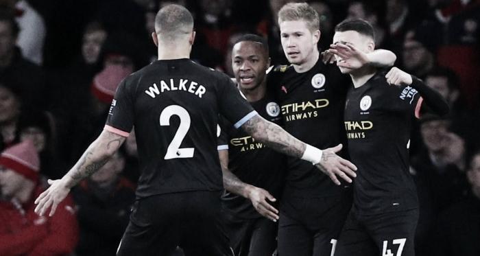 Kevin De Bruyne celebrando uno de sus goles. / Fuente: Premier League
