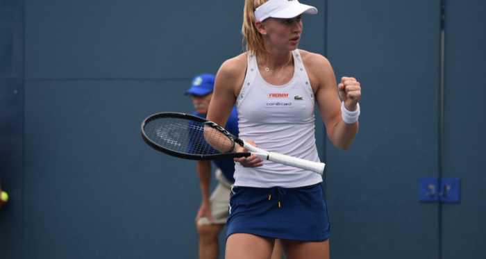 Top seed Jil Teichmann reacts after her victory/Photo: John Lupo/VAVEL USA