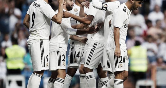 El Real Madrid celebrando uno de los goles. Fuente: Real Madrid