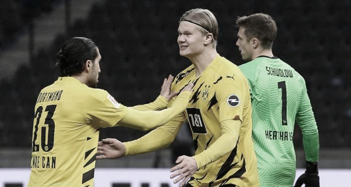 Com quatro gols de Haaland, Borussia Dortmund vira e goleia Hertha Berlin
