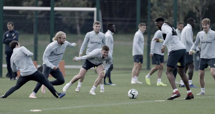Los jugadores del Everto durante un entrenamiento esta semana. | Imagen: www.evertonfc.com