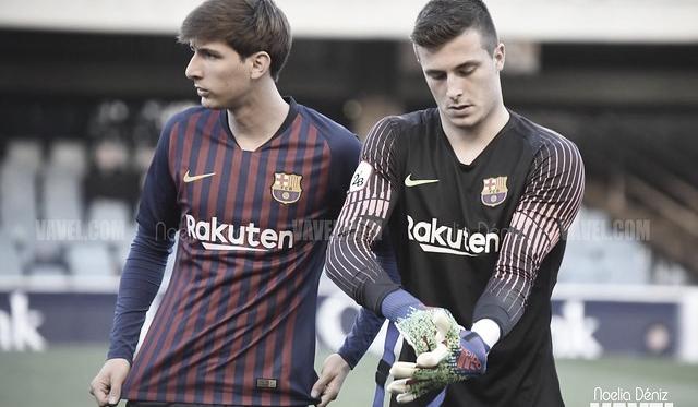 Miranda e Iñaki Peña en un partido del Barcelona B | Foto: Noelia Déniz (VAVEL)