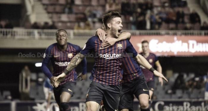 Carles Perez celebrando su gol contra el Lleida, foto: Noelia Deniz, VAVEL
