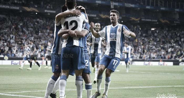 Jugadores del Espanyol celebrando un tanto en el RCDE Stadium. Foto: Noelia Déniz, VAVEL