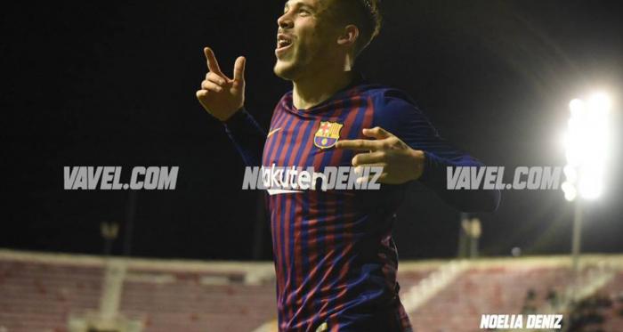 Carles Pérez celebra uno de sus goles ante el Sabadell. FOTO: Noelia Déniz