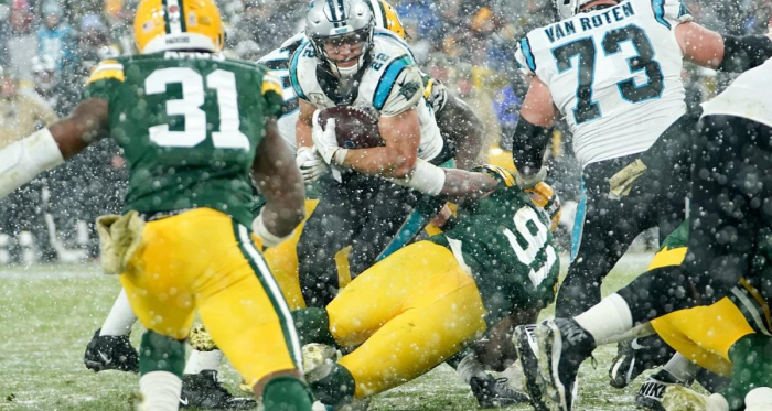 The Packers defense manage to keep Christian McCaffrey out of the end zone on the final play of the game. Photo wiscnews.com
