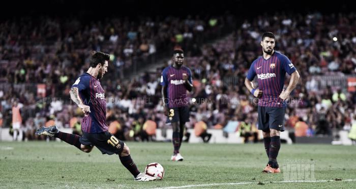 Leo Messi, Luis Suárez y Samuel Umtiti en el duelo disputado ante el Deportivo Alavés en el Camp Nou esta temporada | Foto de Tomás Rubia, VAVEL