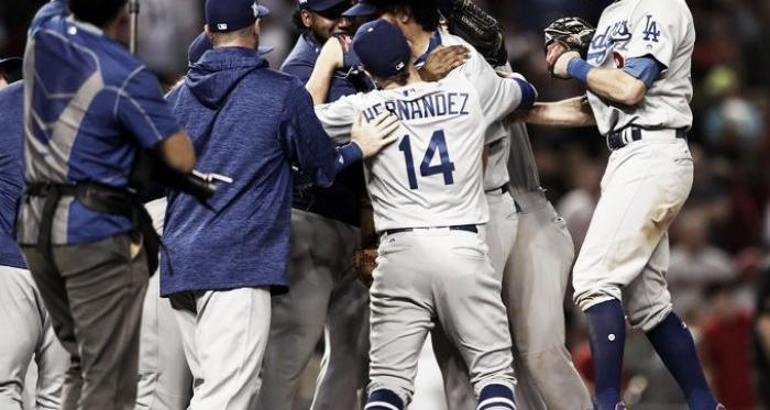 NLDS Game 3: Dodgers atDiamondbacks - The Los Angeles Dodgers celebrate their victory against theArizona Diamondbacks.|Source – Mark Rebilas/USA TODAYSports|