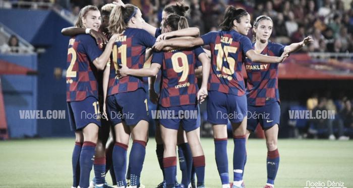 El FC Barcelona Femenino celebrando un gol. FOTO: Noelia Déniz