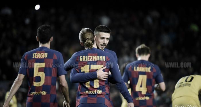 Lenglet celebrando un gol con Griezmann ante el Borussia | Foto: Noelia Déniz (VAVEL)
