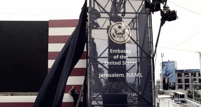 Preparativos para la ceremonia de apertura de la Embajada de EE UU en Jerusalén FOTO: Lior Mizrahi