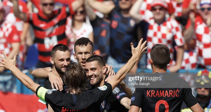 Croatia celebrate their second goal against Wales in June. Photo: Getty/Laszlo Balogh