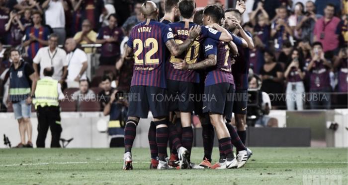 Celebración de un gol en el Camp Nou | Foto de Noelia Déniz, VAVEL