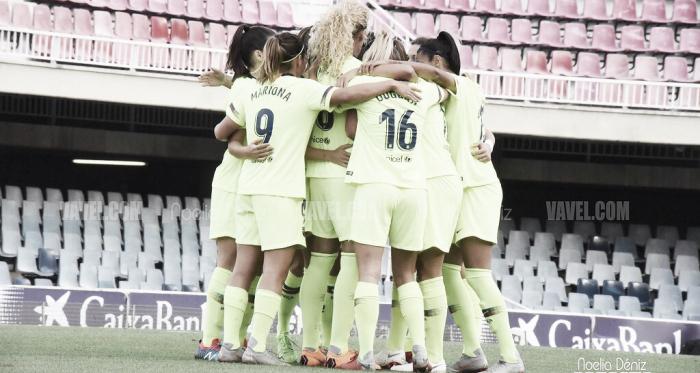 Las azulgranas celebrando un gol ante elBIIK Kazygurt en los dieciseisavos de final de la UEFA Women's Champions League 2018/19 | Foto de Noelia Déniz, VAVEL