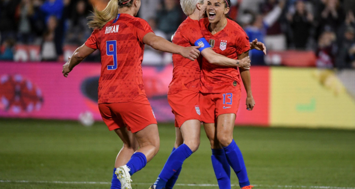 Alex Morgan celebrates her 100th goal (Photo: USWNT Twitter account).