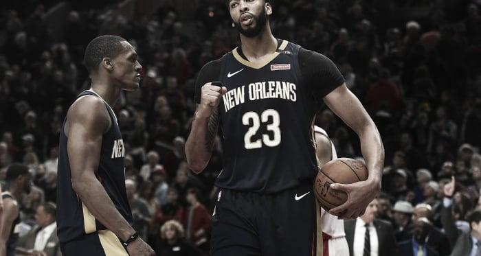 Rajon Rondo e Anthony Davis. Fonte: New Orleans Pelicans/Twitter