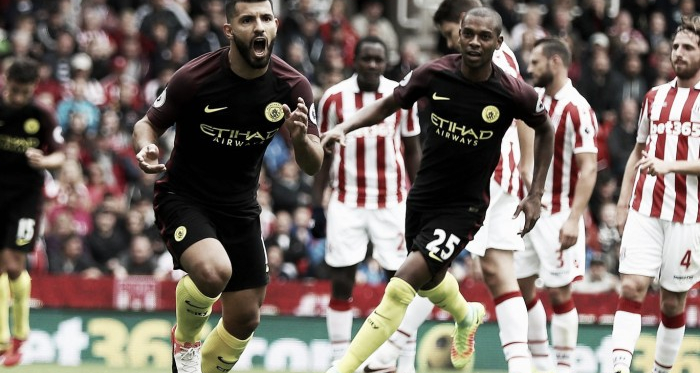 Sergio Aguero celebrates scoring his first goal from the penalty spot. Photo: The Independent.