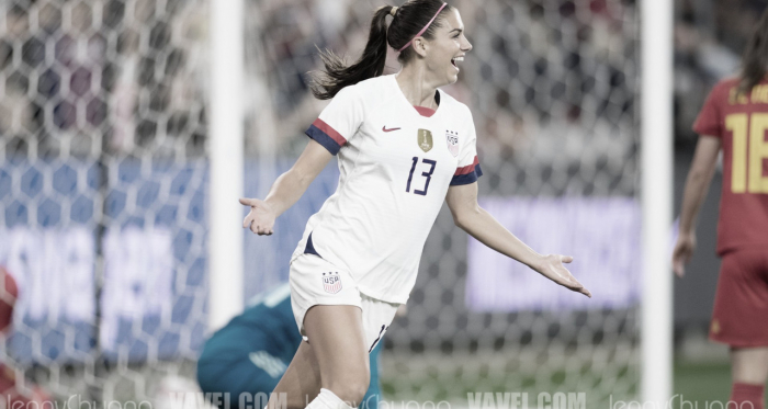 Alex Morgan celebrates her goal  (Photo: Vavel,com/Jenny Chuang)