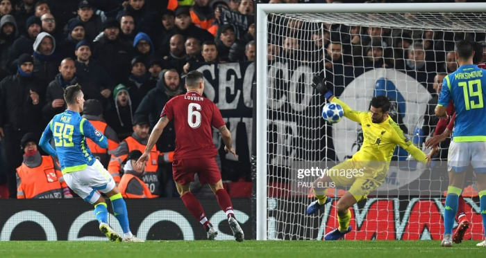 Alisson's most vital contribution for Liverpool this season arrived in added time against Napoli in the Champions League at Anfield (Getty Images)