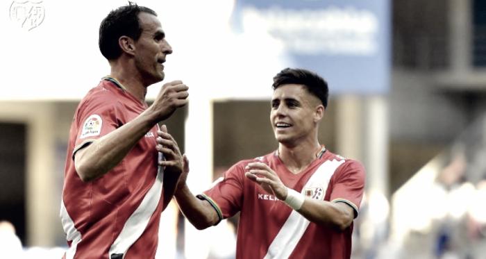 Amaya y Álex celebrando un gol. Fotografía: Rayo Vallecano S.A.D