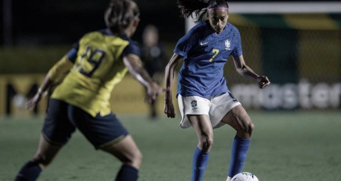 """Andressa Alves comemora gols na vitória da Seleção Feminina: """"Sempre bom marcar"""""""