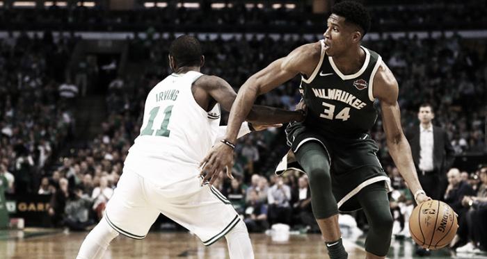 Antetokounmpo se marcha de Irving. Foto: Milwaukee Bucks.