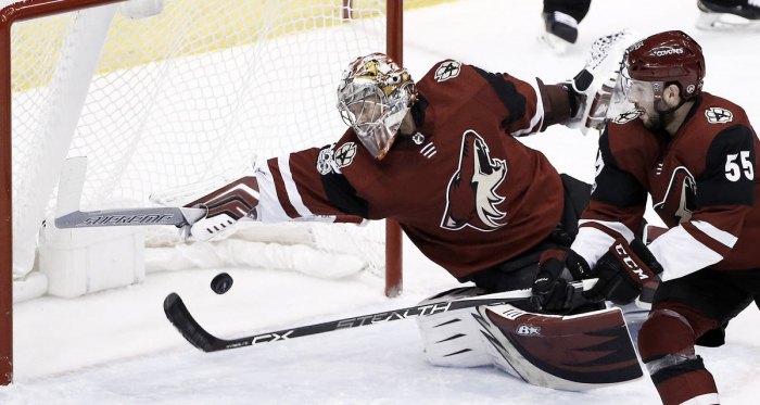 Antti Ranta of the Arizona Coyotes doing what he does best. (AP Photo/Ross D. Franklin)