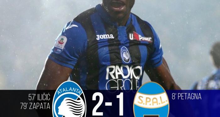 Serie A- L'Atalanta si affida a Ilicic e Zapata per la Champions, piegata un'ottima Spal (2-1)