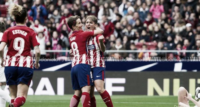Marta Corredera celebrando un gol con Sonia Bermúdez en el Wanda Metropolitano. Foto: Daniel Nieto (VAVEL)