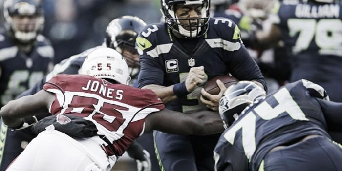 Arizona Cardinals' Chandler Jones (55) sacks Seattle Seahawks Russell Wilson during the first half at CenturyLink Field,Saturday, Dec. 24, 2016.  Source:AP Photo/John Froschauer 