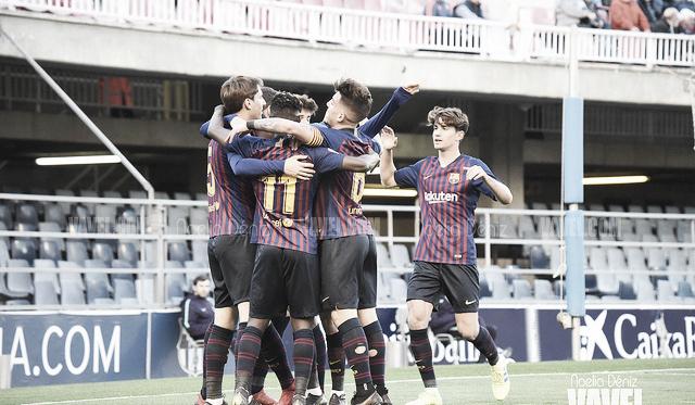 Foto de archivo de los jugadores del Barça B celebrando un gol. FOTO: Noelia Déniz
