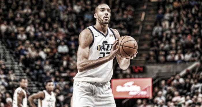 Gobert en un tiro libre   NBA.Com