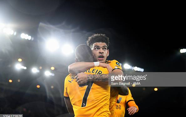 Ivan Cavaleiro of Wolverhampton Wanderers celebrates after scoring a goal to make it 3-2 during the FA Cup Fourth Round Replay match between Wolverhampton Wanderers and Shrewsbury Town at Molineux on February 5, 2019 in Wolverhampton, United Kingdom. (Photo by Sam Bagnall - AMA/Getty Images)