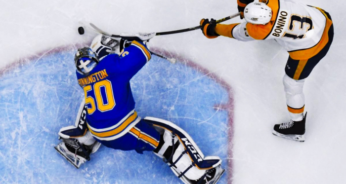 Jordan Binnington has rallied his team back into contention for a playoff spot. | (Photo: Colter Peterson St. Louis Post-Dispatch)