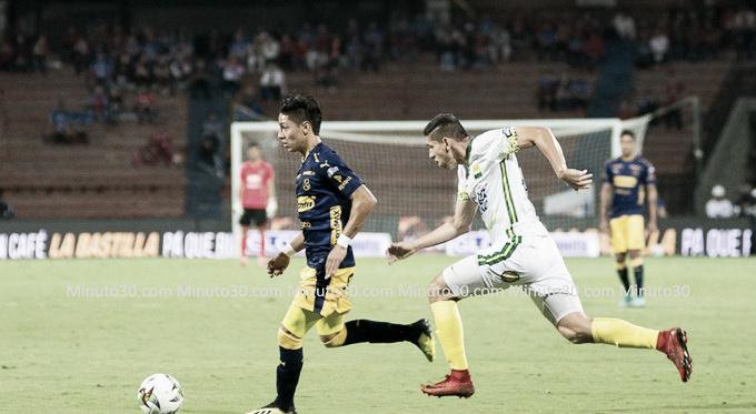 Brayan Castrillón dio dificultades a la defensa del cuadro Leopardo y fue de los destacados del DIM en el 3 por 0 ante Bucaramanga el Atanasio | Fotografía: Minuto 30