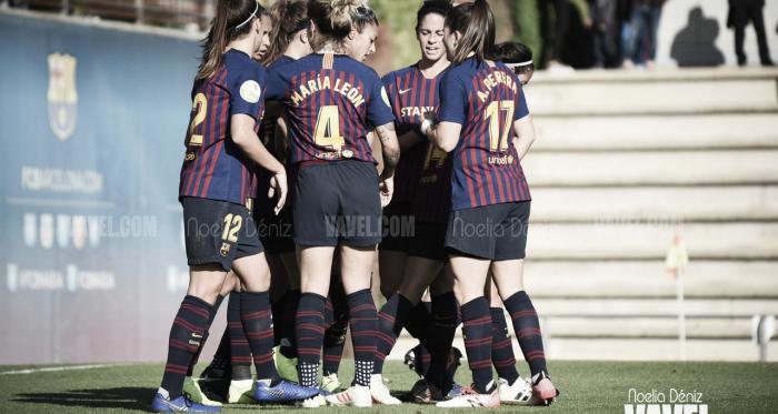 Las jugadoras del Barcelona celebrando un gol en la pasada jornada | Foto: Noelia Déniz (VAVEL)