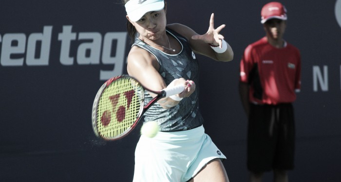 Carol Zhao, the only Canadian to make it past the first round of qualifying on Saturday, hits a forehand during her win over Veronica Cepede Royg at the 2017 Rogers Cup presented by National Bank.   Photo: Max Gao