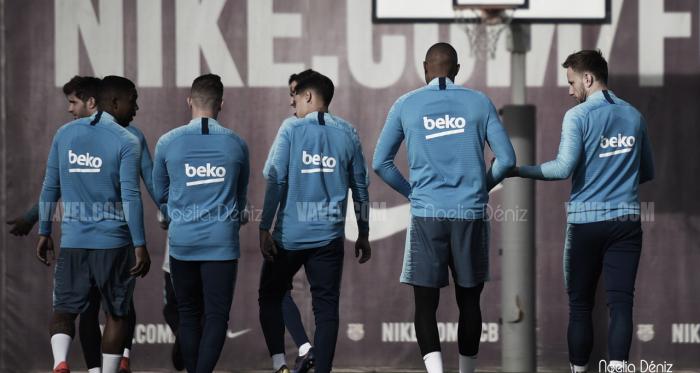 Los jugadores del primer equipo durante un entrenamiento | Foto de Noelia Déniz, VAVEL