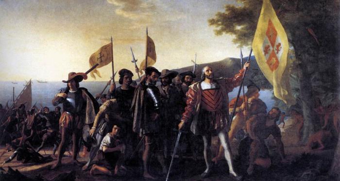 Desembarco de Cristóbal Colón en Guanahani. Fuente: www.wga.hu