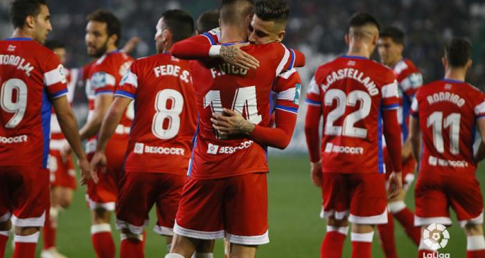 Álvaro Vadillo y Fede Vico celebran el segundo gol del Granada CF. / FOTO:LaLiga