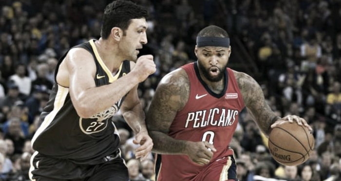 New Orleans Pelicans center DeMarcus Cousins (0) dribbles the basketball against Golden State Warriors center Zaza Pachulia (27) during the third quarter at Oracle Arena. |Kyle Terada-USA TODAY Sports|