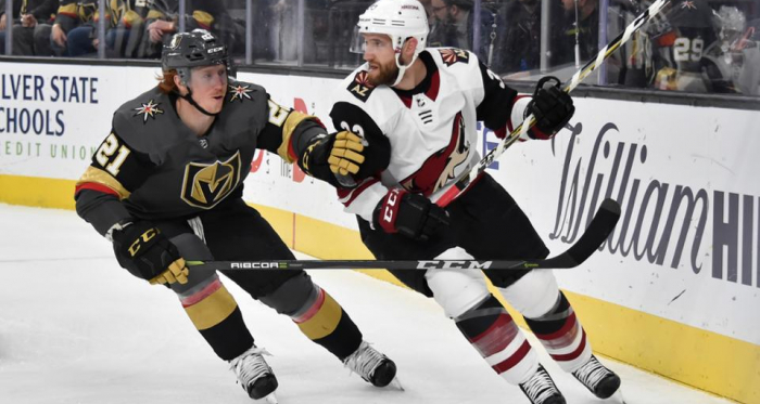 Alex Goligoski checked by Cody Eakin. The Coyotes defenseman had a solid game. (Photo: NHL.com)