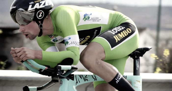La imagen de Primoz Roglic durante un periodo de la contrarreloj| Foto: Team Lotto NL-Jumbo