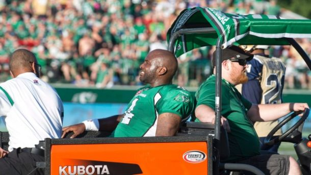 Saskatchewan pivot Darian Durant will miss the remainder of 2015 with an Achilles injury - The Canadian Press/Rick Elvin