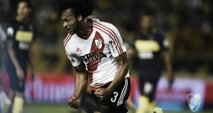 Mina se dio el gusto de festejar en un Superclásico, pero rindió poco (Foto: River Plate Oficial).