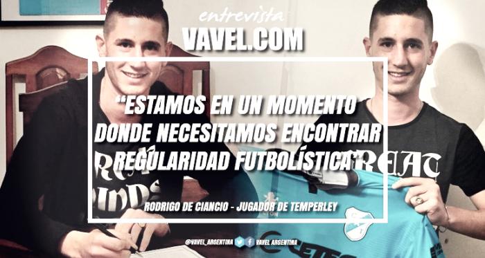 """Rodrigo De Ciancio: """"Estamos en un momento donde necesitamos encontrar regularidad futbolistica"""""""