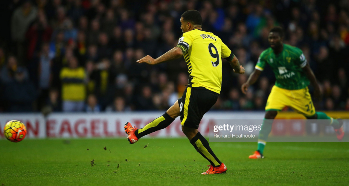 Troy Deeney is in the Watford squad for the first time since August, having contributed to four goals in his last two fixtures against Norwich (Photo: Getty Images)