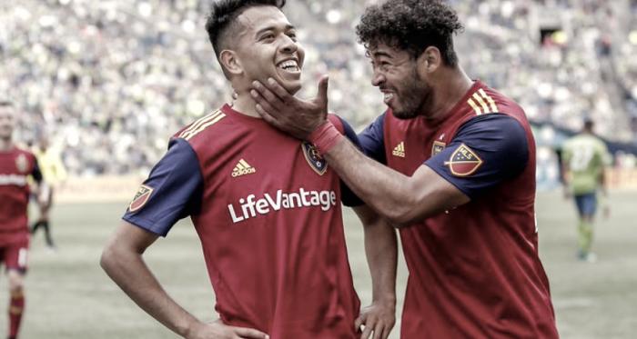 Saucedo celebra el golazo que daría la victoria a su equipo. // Imagen: Real Sant Lake