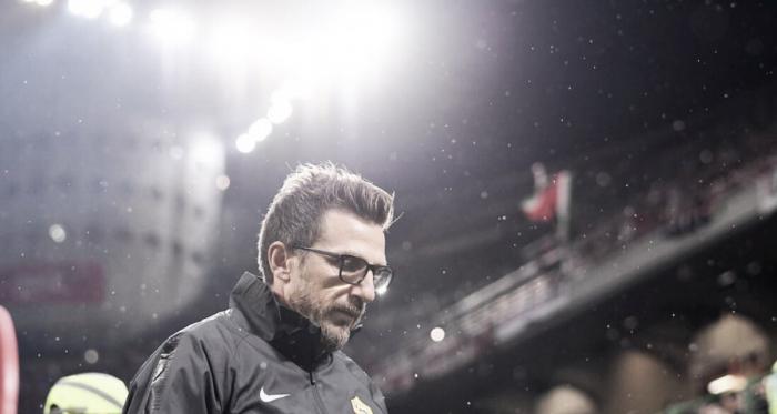 Técnico Di Francesco durante o jogo contra o Milan (Fonte: Divulgação/Roma)